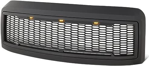 For Ford F250 F350 Super Duty Matte Black Honeycomb Mesh Front Bumper Grille w/Shell+LED Lights