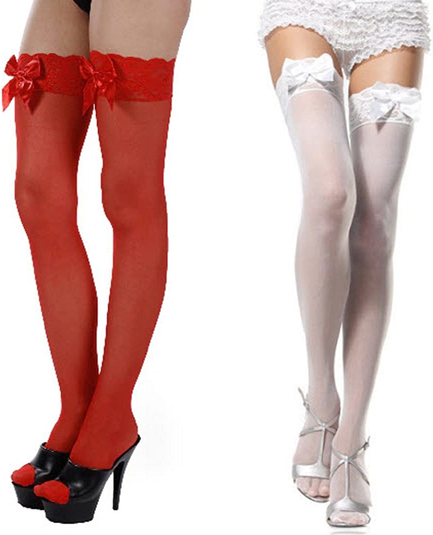 Leg Avenue Women's Satin Bow Lace Excellence Top Thigh Max 55% OFF Accent Highs