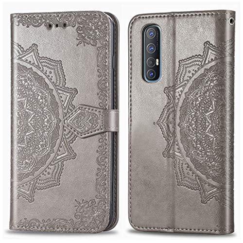 Tosim Oppo Find X2 Neo Hülle Klappbar Leder, Brieftasche Handyhülle Klapphülle mit Kartenhalter Stossfest Lederhülle für Oppo Find X2 Neo 5G - TOSDA021870 Grau