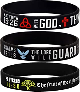 Sainstone Power of Faith Christian Bible Verse Silicone Bracelets - Religious Rubber Wristbands with Christian Symbols (The Trinity, Cross, Dove, Tree of Life) Gifts 8