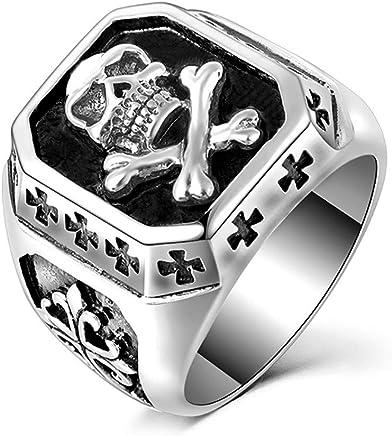 1c8fb243ef95 BOBIJOO Jewelry - Anillo Anillo de Calavera de Plata de la Cruz de los  Templarios de Acero.