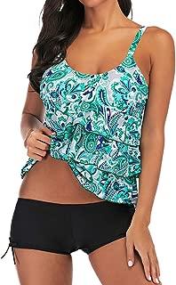 Benficial Women Plus Size Multicolor Print Tankini Swimsuit Swimsuit Beachwear Stripe Swimwear Beachwear