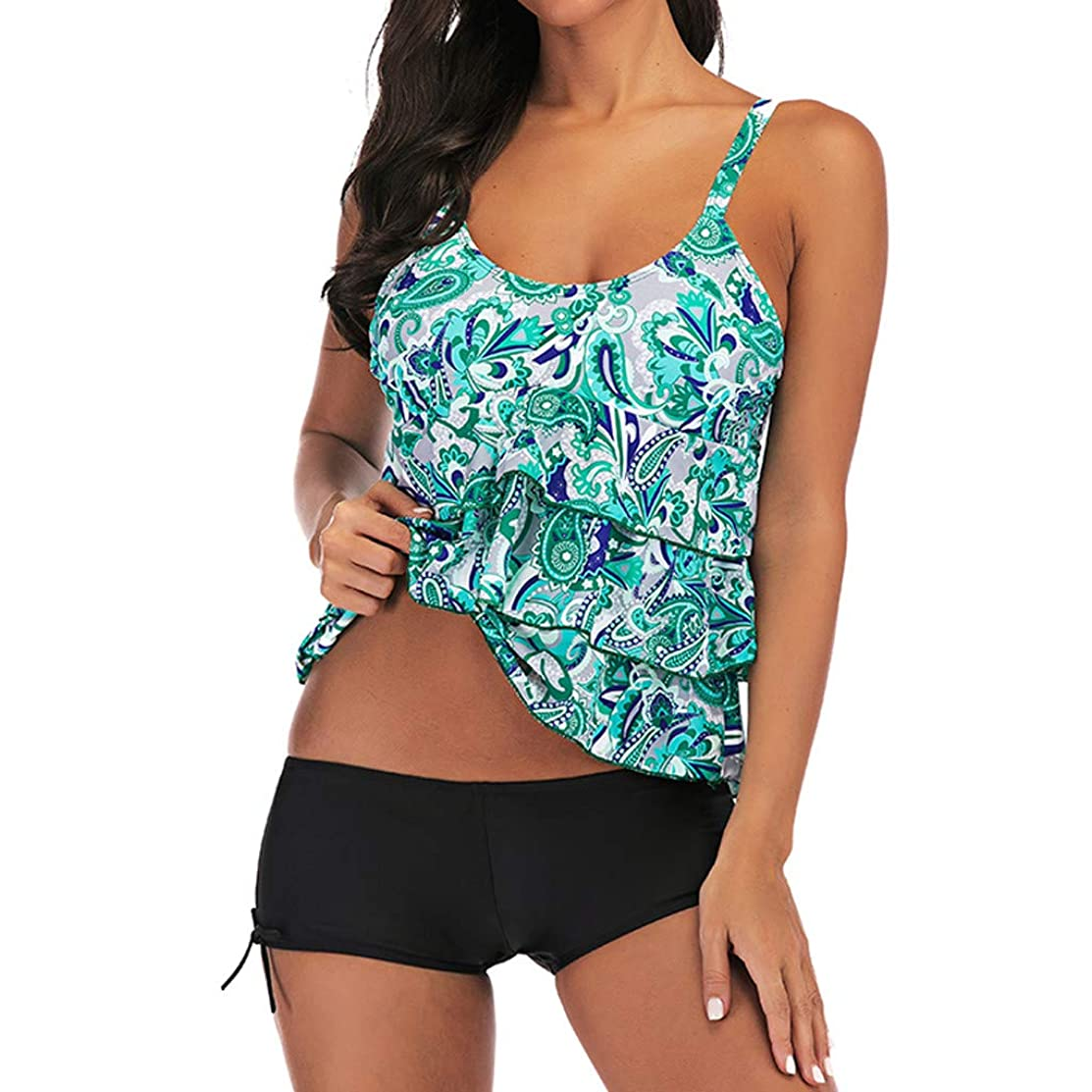Jchen Women Tummy Control Tankini Sets Ladies Floral Print Splice Ruffle Plus Size Tankini Swim Tops Bathing Suit with Shorts