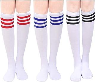 BOER, Calcetines altos a la rodilla para mujer, a rayas, calentadores de piernas, calcetines de algodón, calcetines altos y largos, para cosplay