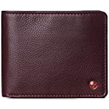 Alpine Swiss RFID Protected Mens Spencer Leather Wallet Bifold 2 ID Windows Divided Bill Section Comes in Gift Box Burgundy