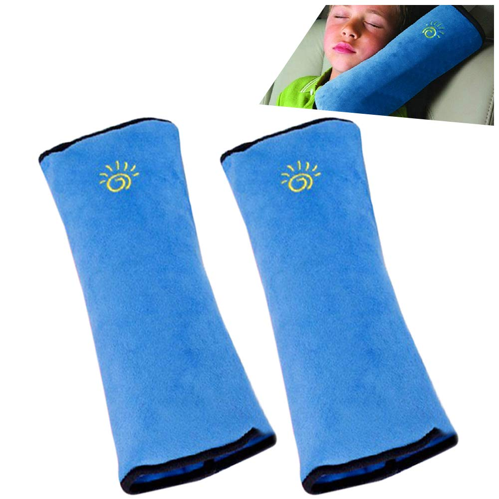 2PC Seat Belt Pillow for Kids, Baby Seatbelt Pillow, Seat Belt Pillows for Toddler Travel, Kids Travel Seat Belt Pillow, Kids Seatbelt Pillow for Booster. (Blue)