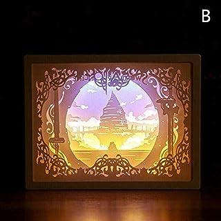 Wangzj Papercut Light Box 3D Led Lámpara de talla de papel, Creativity Shadow Night Lamp Paper Carving Art Night Lights Creative LED Table Lamp for Decoration B