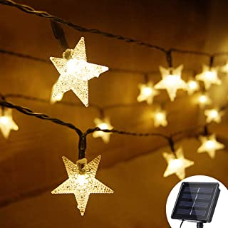 Grezea Solar Star String Lights 21ft 50 LED 8 Modes Solar Powered Christmas Twinkle String Lights for Outdoor Garden Patio Lawn Landscape Xmas Tree Wedding Decoration Waterproof(Warm White 1PACK)
