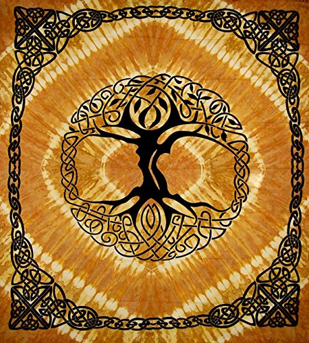 India Arts Celtic Tree of Life Tie Dye Tapestry Heavy Cotton Spread 96' x 86' Tie Dye Amber