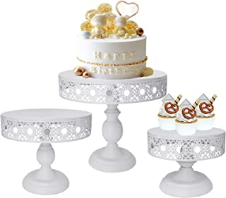 3Pcs Cake Stands Set, Round Metal Cupcake Dessert Display Stand for Baby Shower, Wedding Birthday Party Celebration (White)