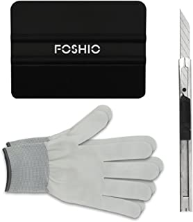 FOSHIO 3 in 1 Car Vinyl Wraps Tool Window Tinting Kits Vehicle Film Include 30 Degree snap-Off Film Cutter Gloves Edge Squeegee