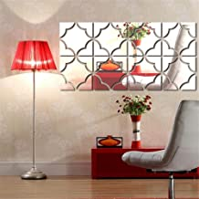 Arabest Mirror Wall Sticker, 4 Pieces Set Removable Acrylic Mirror Wall Decal for Living Room Bedroom TV Sofa Background W...