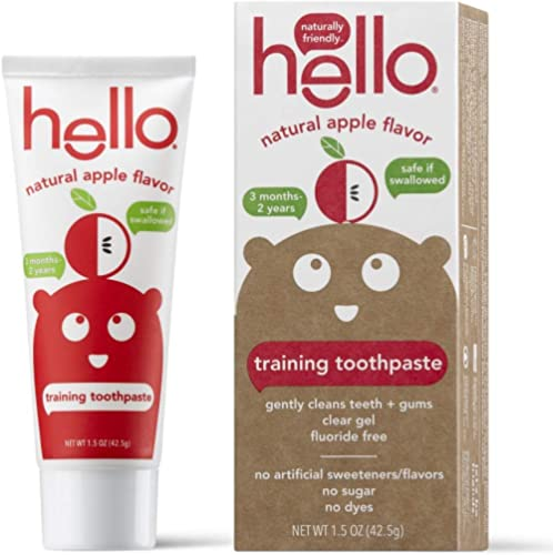 Hello Fluoride Free Training Toothpaste for Toddlers + Kids, 1.5 Ounce | Natural Apple Flavor, Safe to Swallow