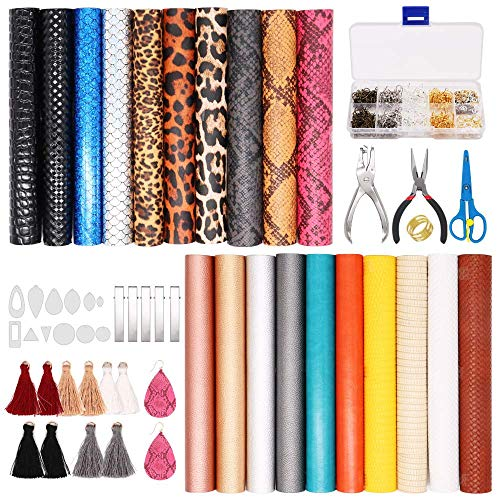 Leather Earring Making Kit, 20 Pieces 8 Styles Faux Leather Sheets with Complete DIY Supplies for Leather Earring, Hair Bows, Crafts