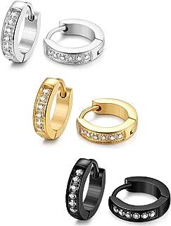 13MM Stainless Steel Small Hoop Earrings for Men Women Huggie Earrings CZ Inlaid