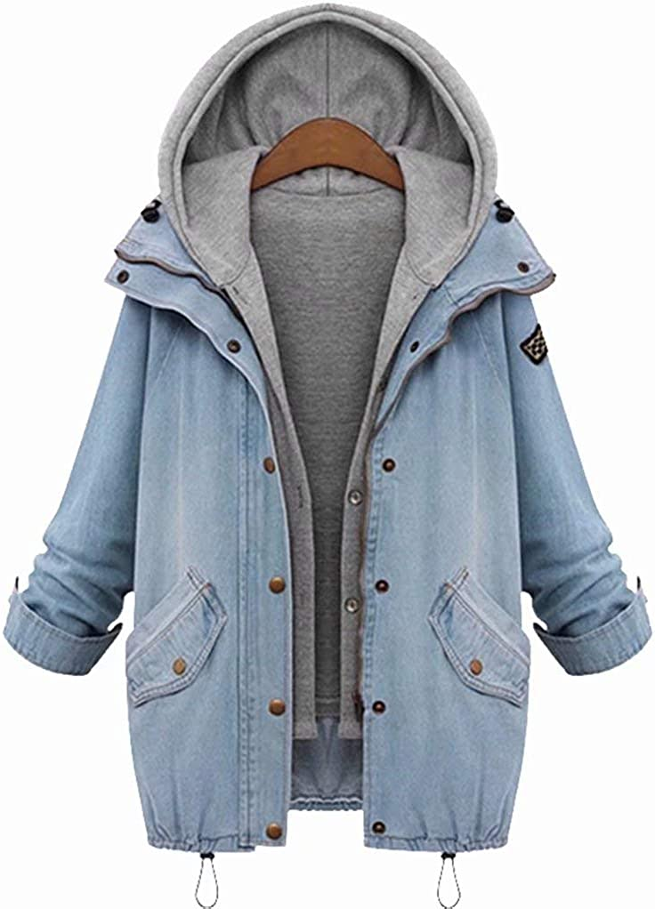 zhuluokeke Women 2 Piece Denim Jacket with Hood Plus Size Vest and Coat