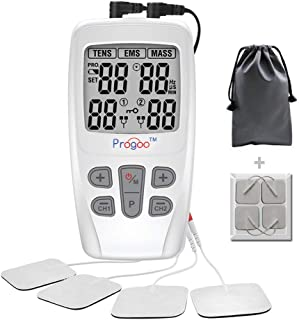 Progoo 2019 New TENS Unit EMS Muscle Stimulator Pain Relief FDA Clear Combination with 8 Reusable Electrodes, Premium Waterproof Carrying Storage Bags....