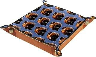 FCZ Plateau de rangement en cuir pour photos de chien, chiot, animal domestique, pour chevet, bureau, boîte de rangement p...