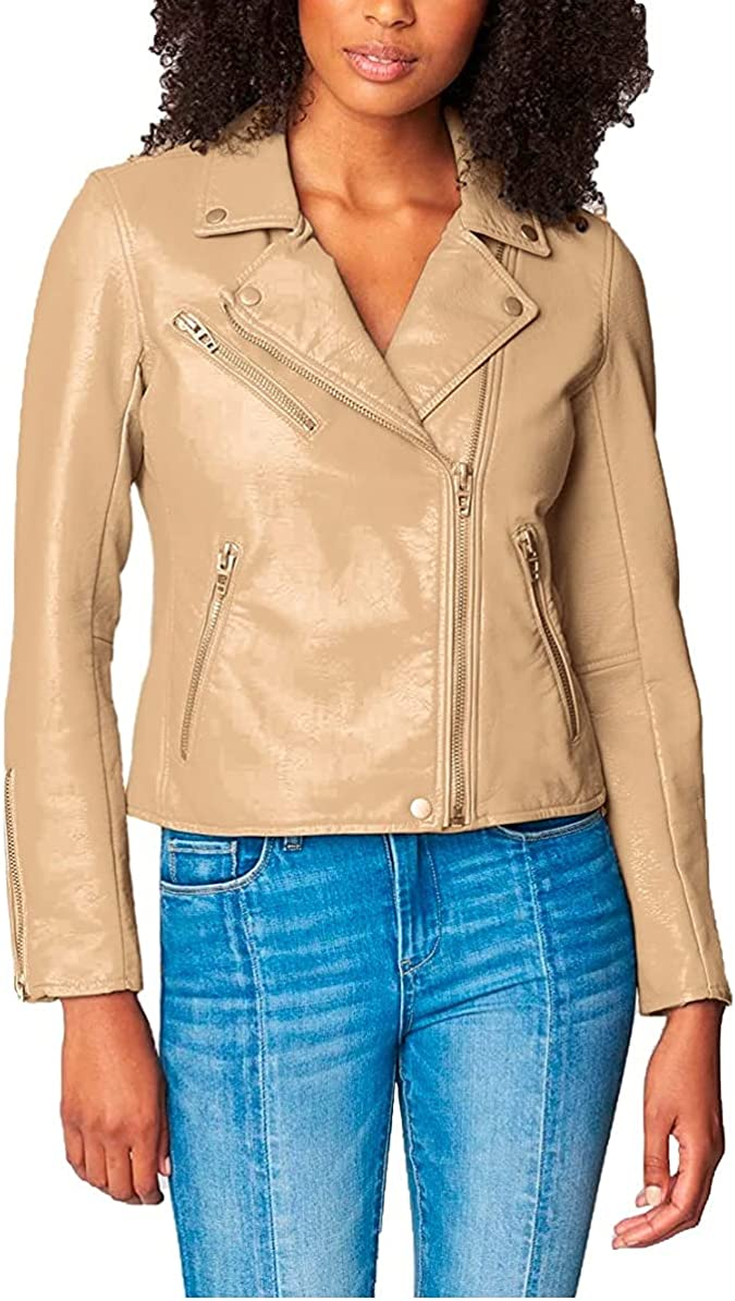 [BLANKNYC] womens Luxury Clothing Semi Fitted Vegan Leather Motorcycle Jacket