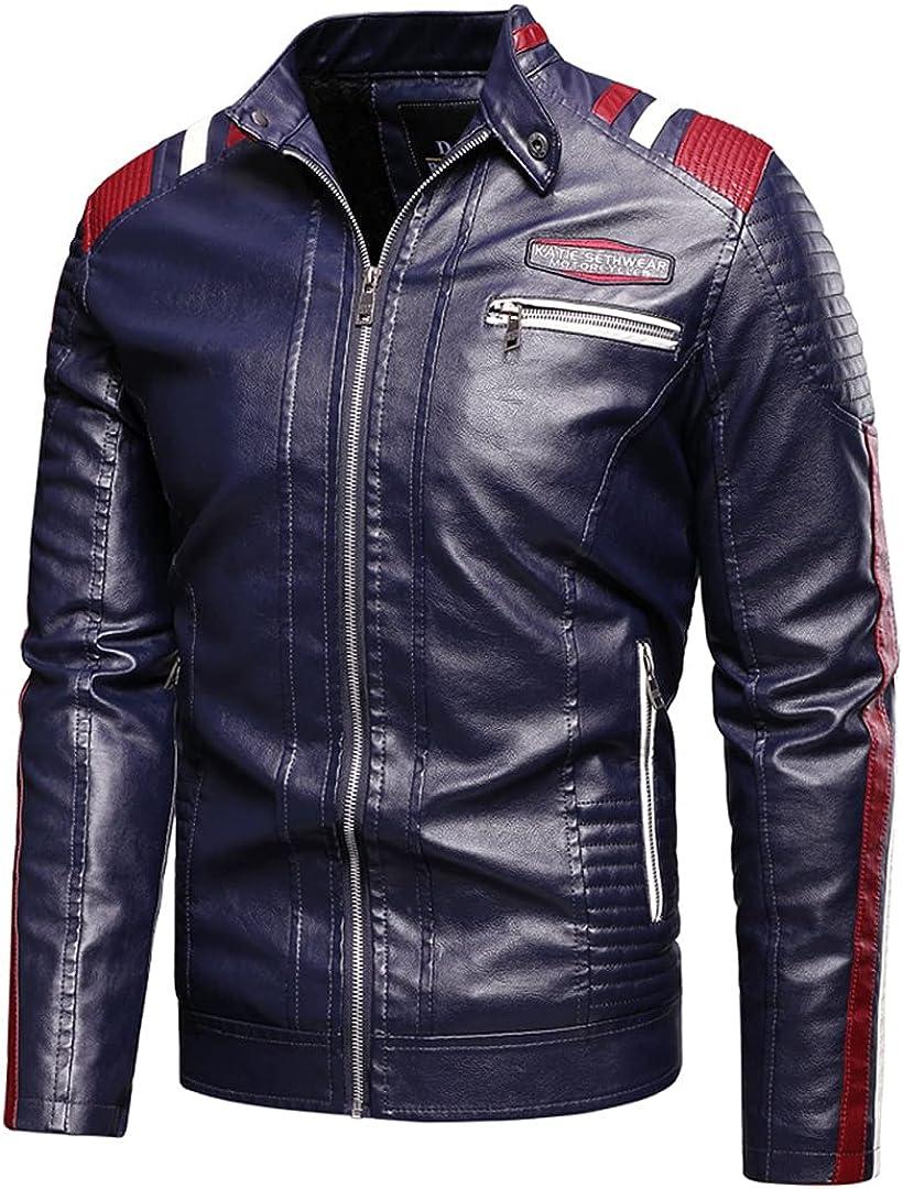 Men Motor Biker Leather Jacket Coat Men Winter Fashion Spliced Vintage Warm Fleece Leather Jacket