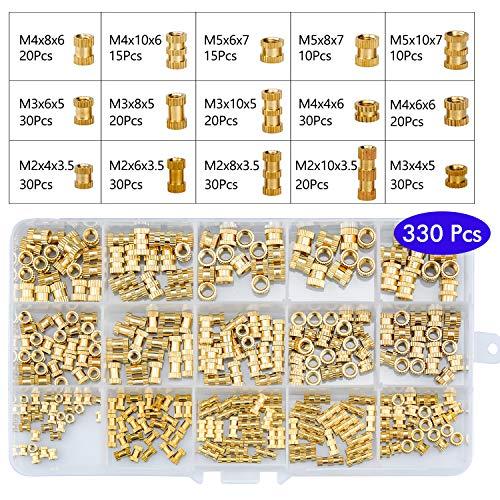 FEIGO 330pcs Gewindeeinsatz Einbettung Muttern Rändelmutter M2 M3 M4 M5 Messing Zylinder gerändelt Gewinde runden Einsatz eingebetteten Muttern für Spritzguss 3D Drucker, Female Thread Nut