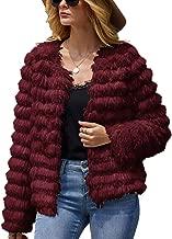 Jeanewpole1 Women Faux Fur Jacket Coat Open Front Fluffy Vintage Parka Shaggy Cardigan