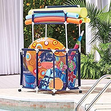 TisYourSeason Rolling Pool Toy Storage Cart Bin - Large Noodle Holder with Top Shelf | Perfect Contemporary Nylon Mesh Basket