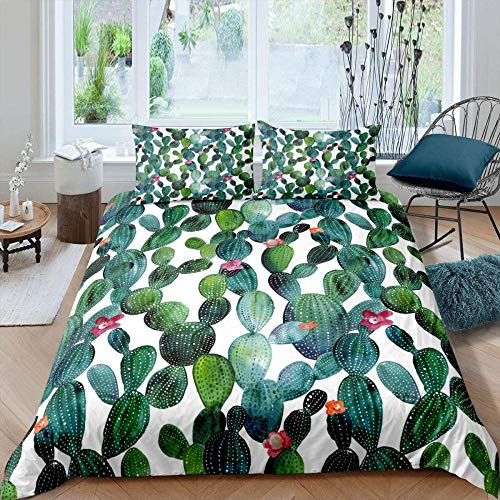 RONGXIE 3D Duvet Cover Sets Kids Bedding Set Ultra Soft Tropical Green Plant Flower Cactus - King (220 X 230 Cm) - Starry Theme Quilt Cover For Boys, (1 Duvet Cover + 2 Pillowcases)