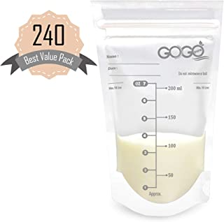 240 Count Best Value Pack Breast Milk Storage Bags - 7 Ounce, Pre-Sterilized, BPA Free, Leak Proof Double Zipper Seal, Self Standing, for Refrigeration and Freezing - Only Available at Amazon!