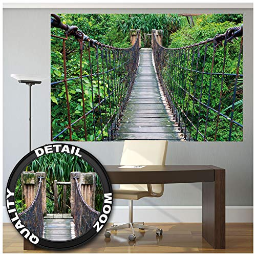 GREAT ART Fototapete – Hängebrücke – Wandbild Dekoration Dschungel Landschaft Natur Adventure Brücke Regenwald Busch Tropen Urwald Holzbrücke Foto-Tapete Wandtapete (210 x 140 cm)