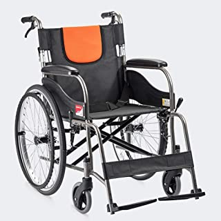Ultralight Transport Wheelchair with Lightweight Steel Frame,Folding Chair is Portable for Adults, Large 22 inch Back Whee...