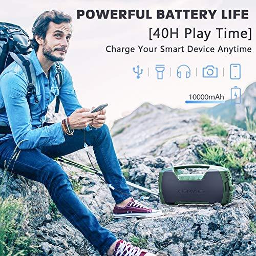 AOMAIS GO Altavoces Bluetooth, impermeables, portátiles, para interiores y exteriores, 40 W, estéreo, inalámbrico, emparejamiento de bajos, Bluetooth 5.0, 40 horas de tiempo de reproducción con batería de 10000 mAh, color verde