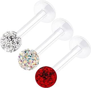BanaVega 3 件透明亚克力唇环 16 号 5/16 8 毫米 3mm 水晶单根耳环 穿孔首饰 查看更多颜色
