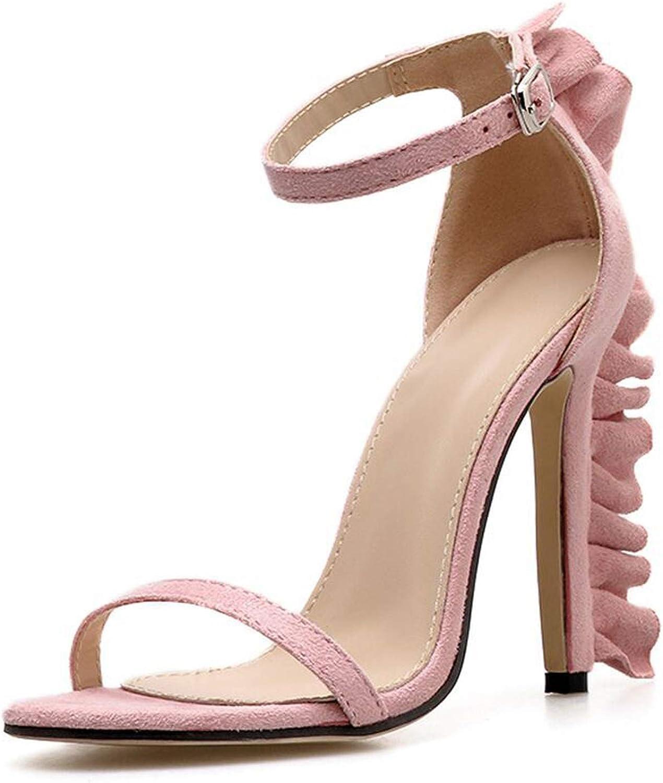 Sweet Summer Women's shoes Flock Sandals Round Toe Buckle Strap Thin Heels,Pink,5