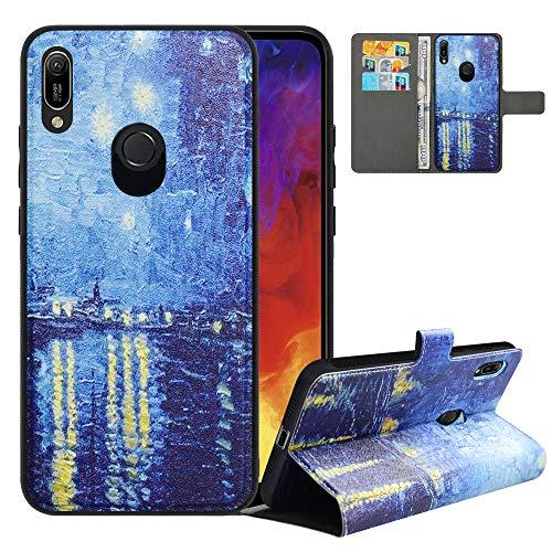 LFDZ Handyhülle für Huawei Y6 2019 Hülle,Premium 2 in 1 Abnehmbare PU Ledertasche für Honor 8A Hülle,[RFID-Blocker] Flip Hülle Brieftasche Etui Schutzhülle für Huawei Y6 Pro 2019 Hülle,Starry Night