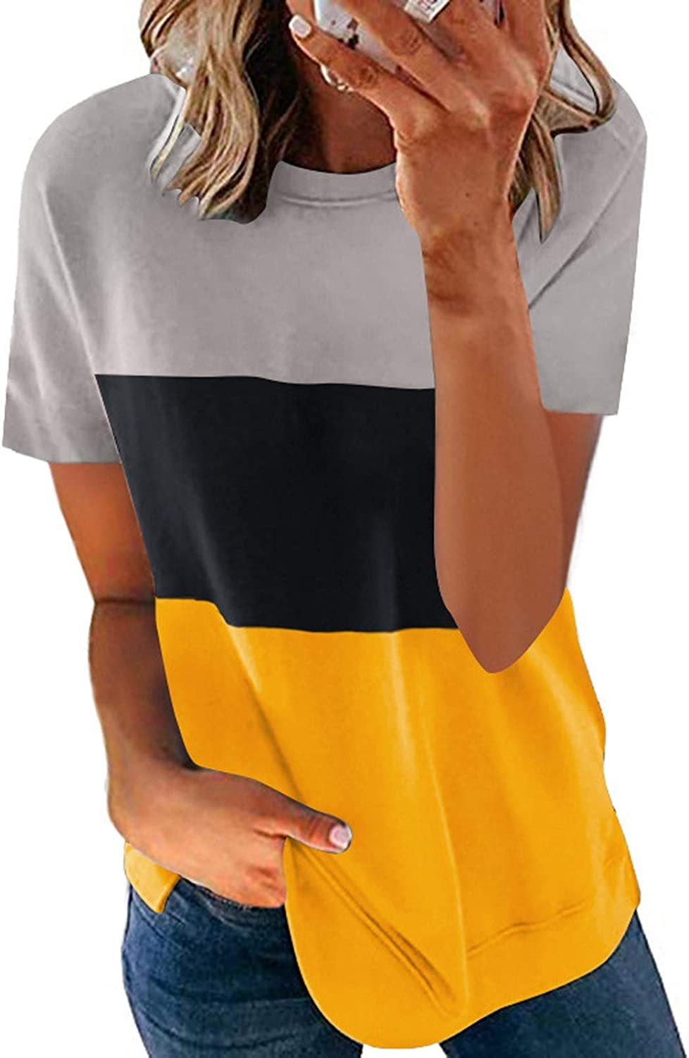AODONG T Shirts for Women Short Sleeve Tops Summer Color Block Casual Blouses Crewneck Comfy Pullover Shirts Tunics