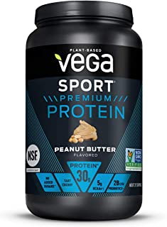 Vega Sport Premium Protein, Peanut Butter (19 Servings, 28.7 oz) - Plant Based Vegan Protein Powder, BCAAs, Amino Acid, Ta...