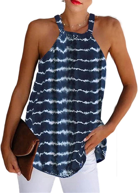 HAM Tank Tops for Women Loose Hight Neck Denmi Halter Tank Top Summer Tie-dye Print T-Shirt Sleeveless Casual Tank Top