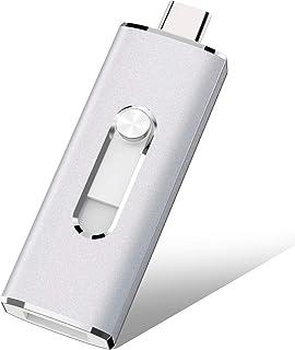 ذاكرة فلاش يو إس بي 2 في 1 نوع سي & ZZ 32 جيجابايت 2 في 1 OTG USB (USB 3.1 Gen 2 + USB 3.0) مع سلسلة مفاتيح معدنية للحاسوب...