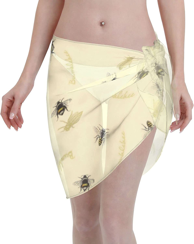 Bumblebee Women Beach Short Sarongs Cover Ups Beach Swimsuit Wrap Skirt Black