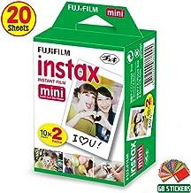 FujiFilm Instax Mini Instant Film 1 Pack - 20 Sheets + 60 Assorted Colorful Mini Photo Stickers for FujiFilm Instax Mini 9 / Mini 8 Cameras