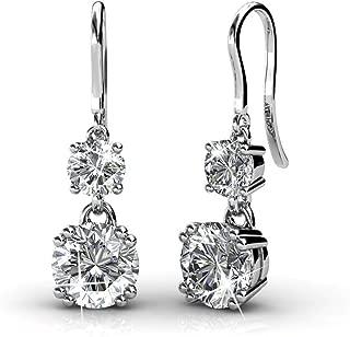 Kadence White Gold Dangle Earrings, 18k White Gold Plated Earrings with Swarovski Crystals, Women's Round Cut Crystal Earrings, Silver Earrings for Women