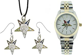 3 Piece Jewelry Set - Order of The Eastern Star Pendant, Hook Earrings & Order of The Eastern Star Watch. OES Symbol on Silver Gold Duo Tone Steel Band White Face