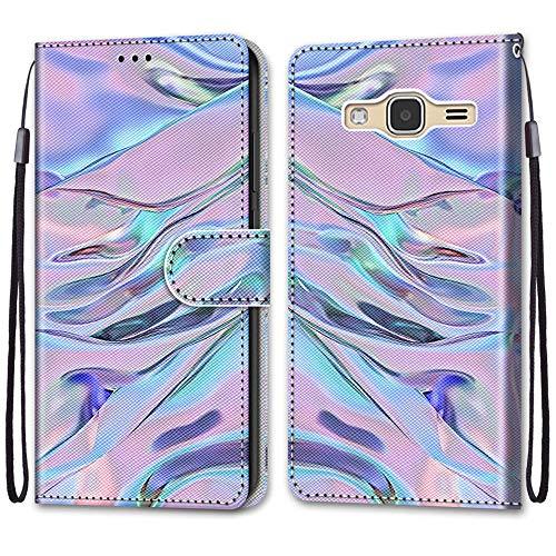 i-Case Flip Portafoglio Custodia per Samsung J3 2016 Premium Colore Protettiva PU Pelle Copertura Cover Motivo Fluorescente Modello Magnetico Protettiva Stand Cover per Samsung Galaxy J3 2016