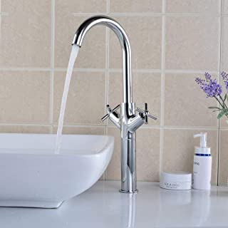 Hot and Cold Faucet Sink Double Spiral Sink Height Double Handle Spray Brass Faucet
