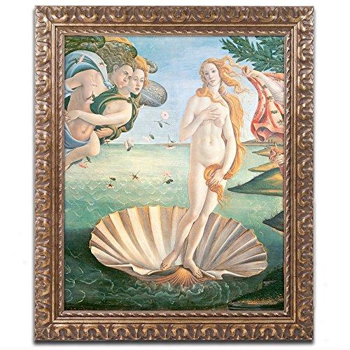 Birth of Venus 1484 Artwork by Sandro Botticelli, 11 by 14-Inch, Gold Ornate Frame
