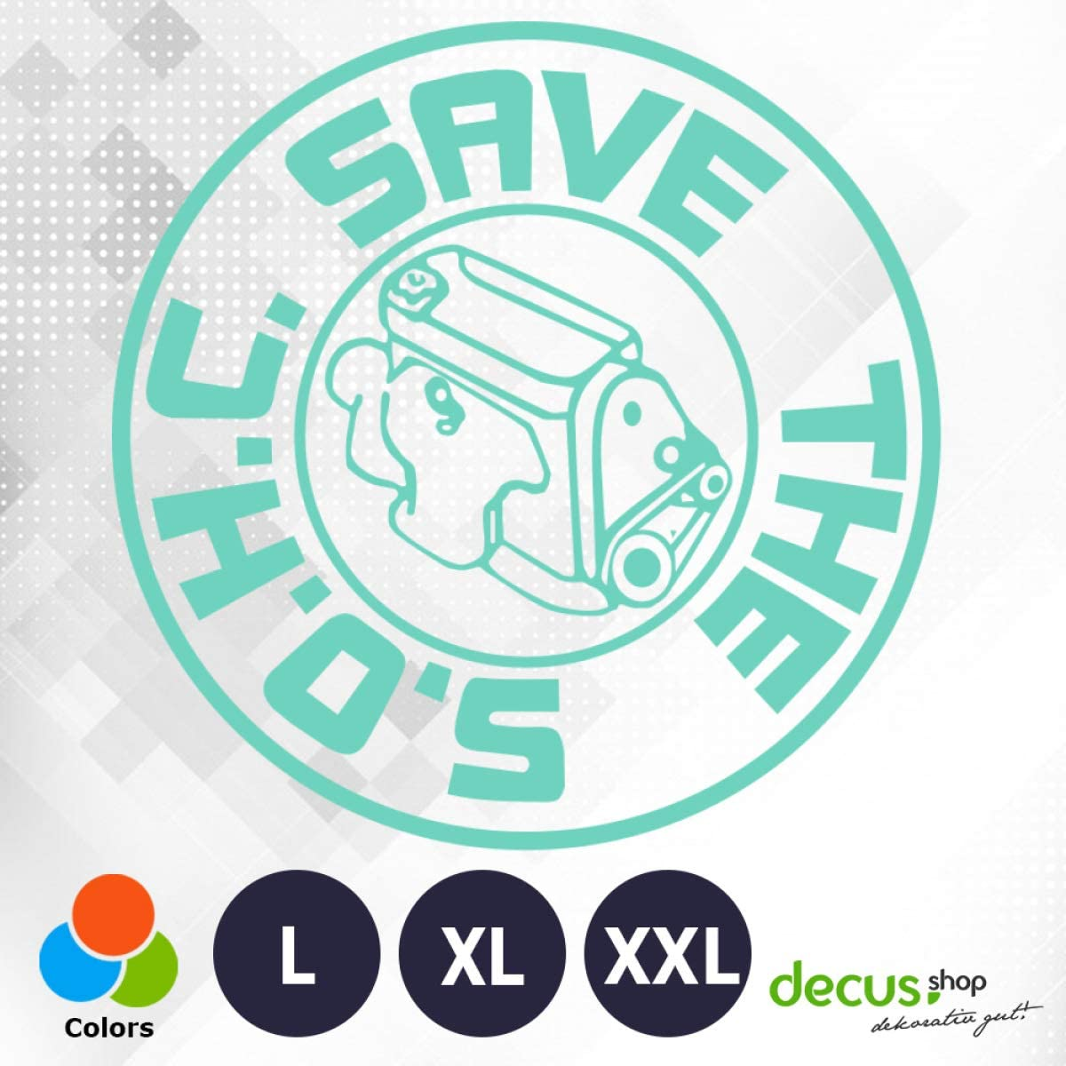 Decus Pegatina Save The SOHC L 1470 color blanco estilo OEM JDM