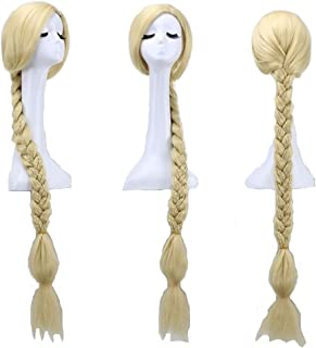 Mainlead Womens Long Braids Blonde For Costume Princess Pre-stled Tangled Wig