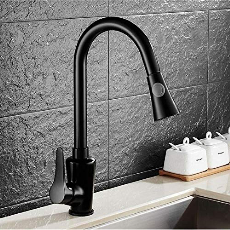 Lddpl Küchenarmaturen Messing Schwarz Herausziehen Küchenmischbatterie 2-Wege-Funktion Wassermischer Deck Montiert Einhand-Spüle Kran 64