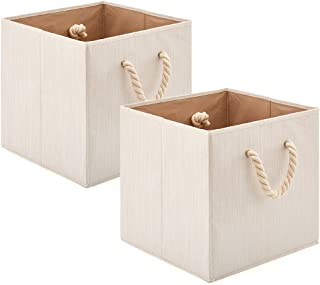 comprar comparacion EZOWare 2 pcs Cajas de Almacenaje, Cubo Decorativa de Tela Plegable Resistente con Manijas para Ropa, Juguetes, Armario, D...